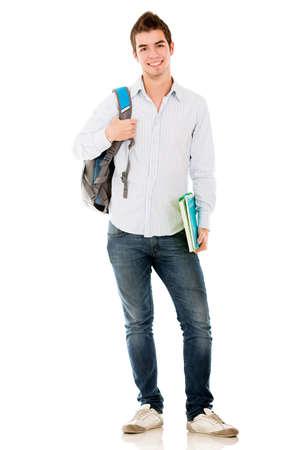 hispanic student: Estudiante var�n feliz sonriendo - aislados en un fondo blanco