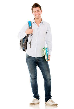 male student: Happy male student smiling - isolated over a white background Stock Photo