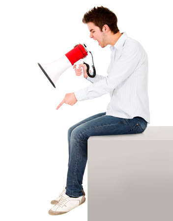 dictatorial: Man yelling with a megaphone - isolated over a white background