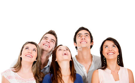 looking  up: Group of people looking up - isolated over a white background