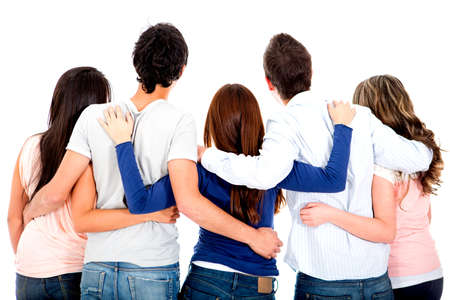 friend hug: Rear view of a group of friends hugging - isolated over a white background  Stock Photo