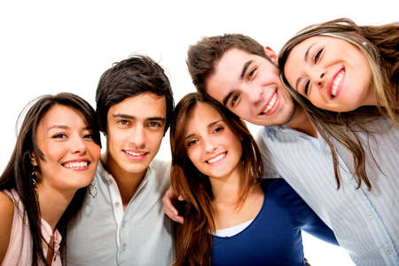 friends hugging: Happy group of young people smiling - isolated over white