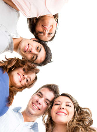 people smiling: Group of people smiling - isolated over a white background  Stock Photo