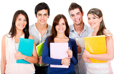 male student: Happy group of students smiling - isolated over a white background