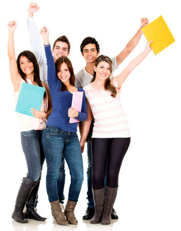 latin students: Happy group of college students with arms up - isolated over white