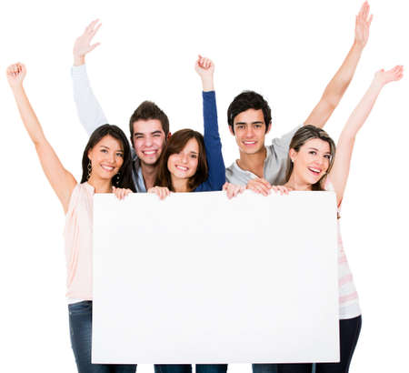 Excited group of friends holding a bannner - isolated over a white background  photo