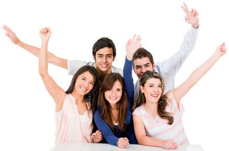 people celebrating: Group of people celebrating with arms up - isolated over a white backgorund