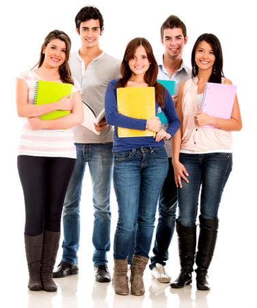 male student: Happy group of students standing with notebooks - isolated over white