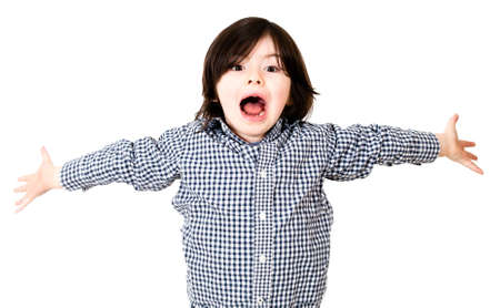 Boy screaming with arms open - isolated over a white background  Stock Photo - 14107677