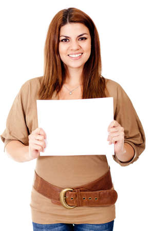 Woman holding a banner - isolated oevr a white background  photo