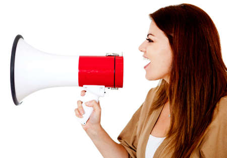 Woman talking through a megaphone - isolated over a white background Stock Photo - 14179307