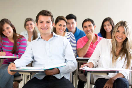 academics: Group of students in class looking very happy