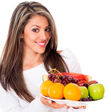 based: Healthy woman on a fruit based diet - isolated over white background  Stock Photo