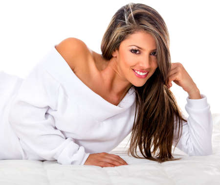 Beautiful woman smiling - isolated over a white background photo