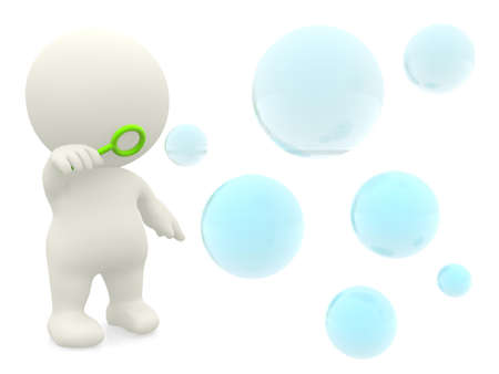 iridescent: 3D character blowing soap bubbles - isolated over a white background