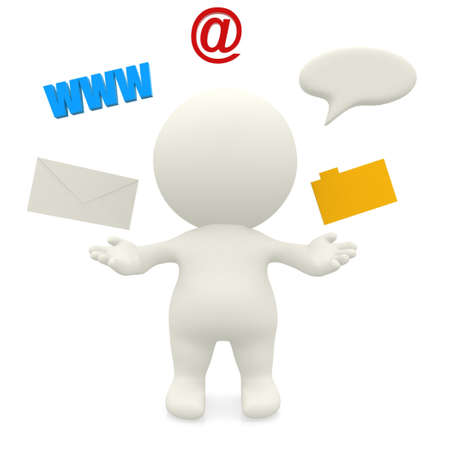 mail man: 3D man with a communication system - isolate over a white background  Stock Photo