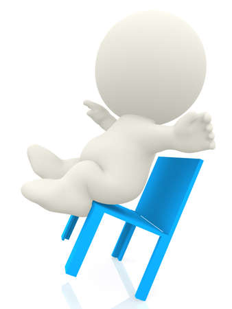 calamity: 3D person falling from a chair - isolated over a white background