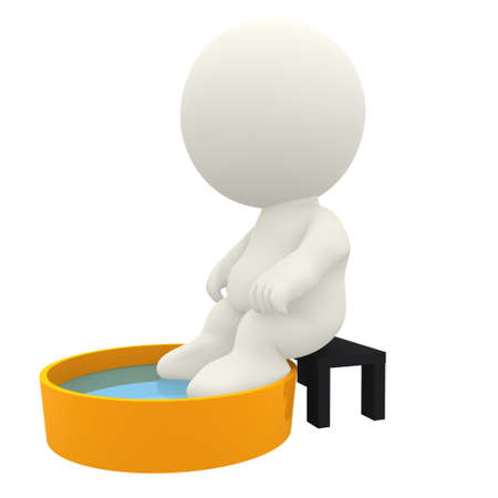 3D character relaxing putting his feet in water - isolated over white  photo