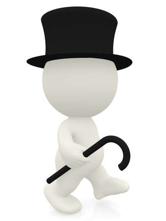 3D Gentleman walking - isolated over a white background  photo
