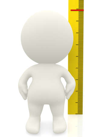 3D man measuring his height - isolated over a white background  photo