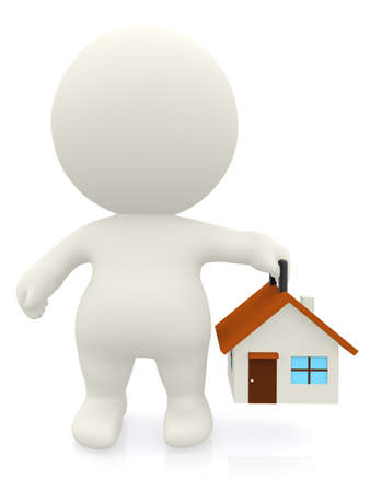 3D man carrying a house - isolated over a white background  photo