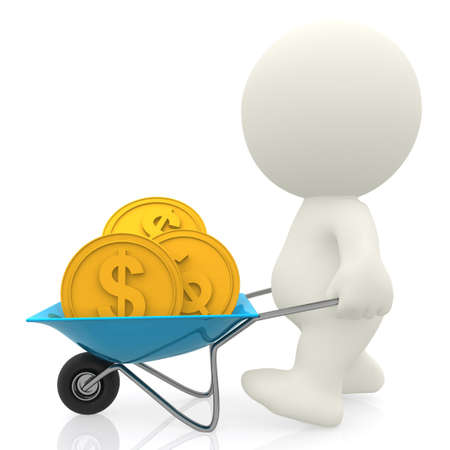 3D Man carrying money in a wheelbarrow - isolated over a white background  photo