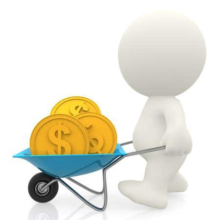 carretilla: El hombre 3D llevar dinero en una carretilla - aislados en un fondo blanco