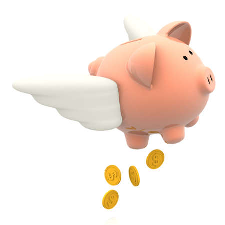 3D Elusive savings flying away in a piggybank - isolated over a white background  photo