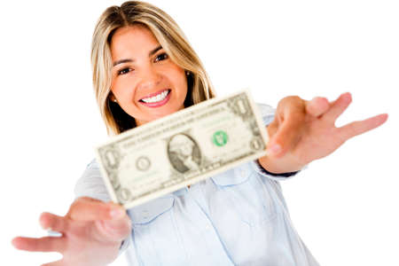 holding notes: Woman holding a dollar bill - isolated over a white background