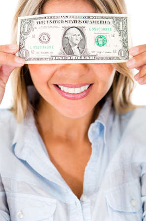 blinded: Happy woman blinded by the money - isolated over a white background