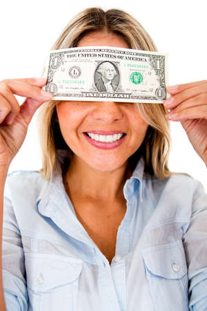 blinded: Greedy woman blinded by money - isolated over a white background  Stock Photo