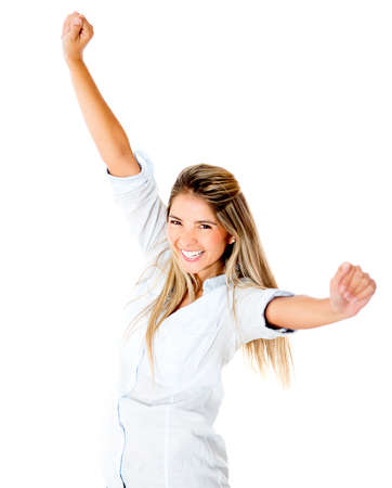 Happy woman with arms up - isolated over a white background Stock Photo - 14422125