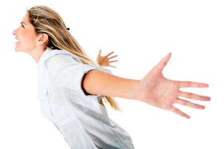 outstretch: Excited woman with arms open - isolated over a white background