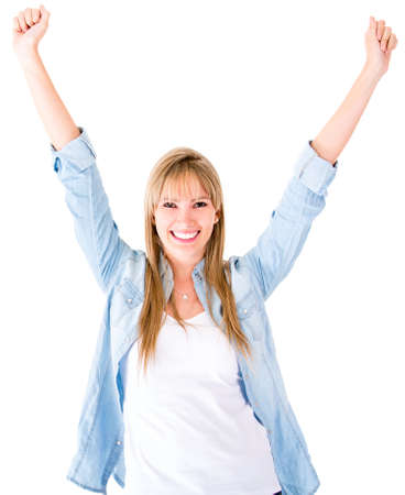 Happy woman with arms up - isolated over a white background  Stock Photo - 14469179