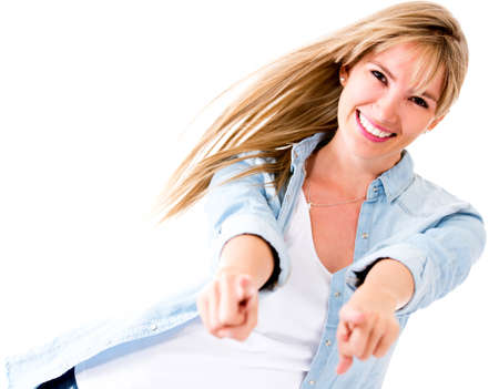 Fun woman pointing at the camera - isolated over a white background  Stock Photo - 14469220
