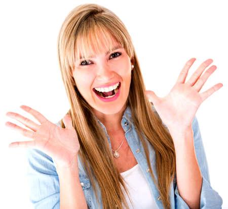 donna entusiasta: Eccitato donna cerca molto sorpreso - isolato su uno sfondo bianco