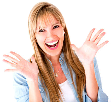 �tonnement: Femme cherche tr�s surpris excit� - isol� sur un fond blanc