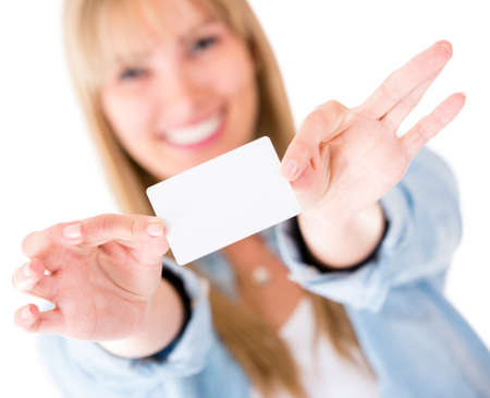 Woman holding a business card - isolated over white background Stock Photo - 14469176