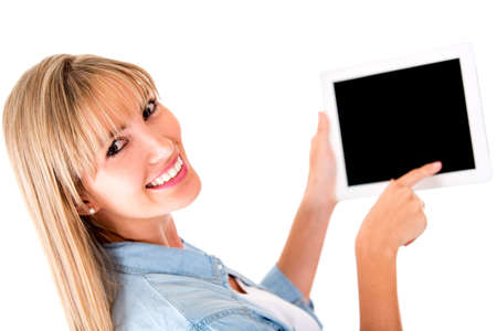 Woman scrolling in a tablet computer - isolated over a white background  photo