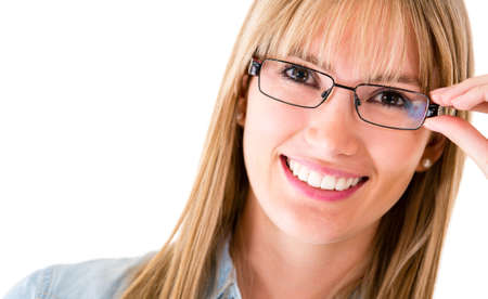 Happy woman wearing eyeglasses - isolated over a white background  photo
