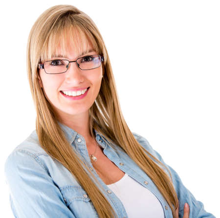 Casual woman smiling and wearing glasses - isolated over a white background  photo