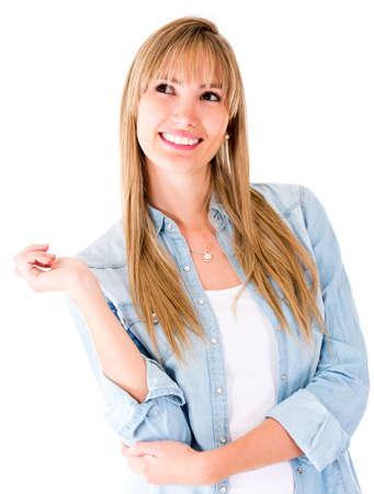 femme regarde en haut: Femme r�fl�chie regardant - isol� sur un fond blanc Banque d'images