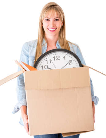 Woman moving house - isolated over a white background  photo