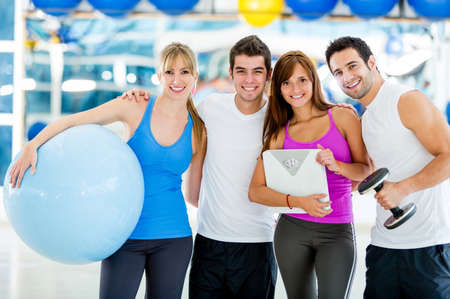 happy people: Group of gym people looking very happy