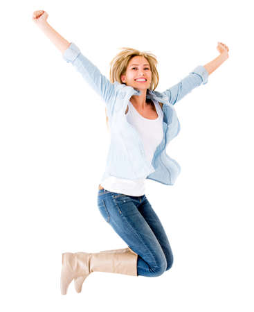 Happy woman jumping with arms up - isolated over a white background  Stock Photo - 14710034