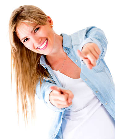 Woman pointing to the camera and having fun - isolated over white  Stock Photo - 14710103