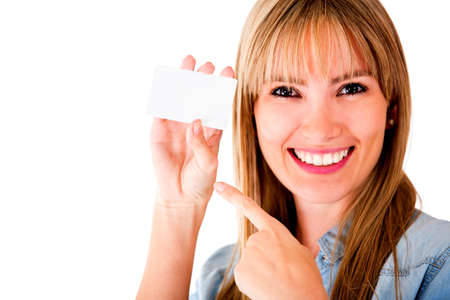 Woman holding personal business card - isolated over a white background  Stock Photo - 14710047