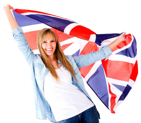 english girl: British woman holding the Jack Union flag - isolated over white