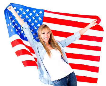 american content: American woman holding the USA flag - isolated over a white background  Stock Photo