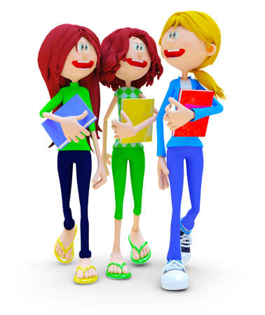 cartoons: 3D female students talking - isolated over a white background